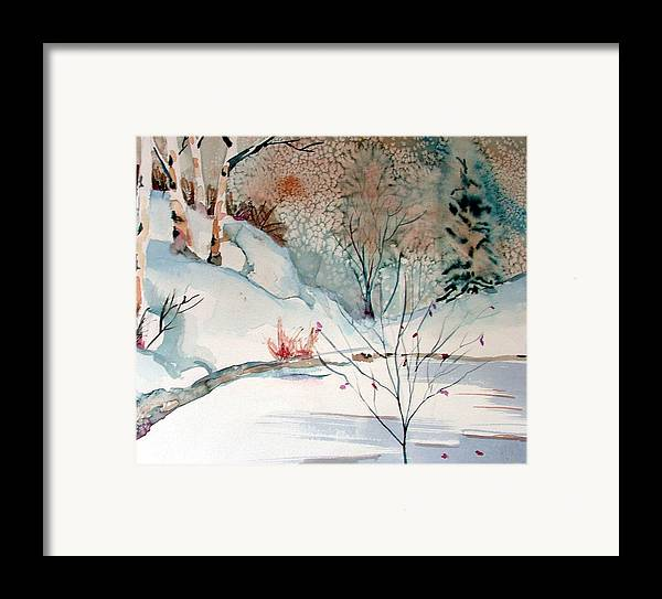 Winter Framed Print featuring the painting An Icy Winter by Mindy Newman