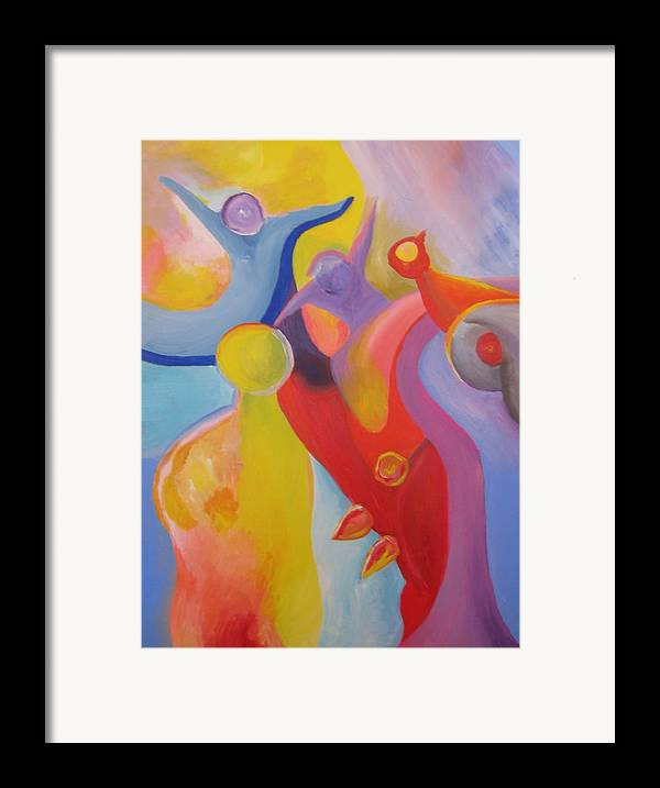 Abstract Framed Print featuring the painting An Interdimensional Link by Peter Shor