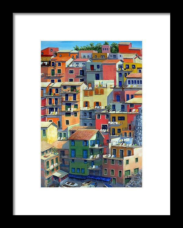 Manarola Framed Print featuring the painting An Italian Village by Dan Bozich