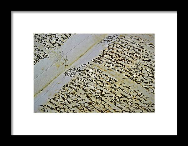 An Framed Print featuring the photograph An Old Manuscript by HazelPhoto