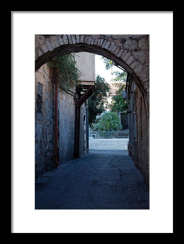Jerusalem Framed Print featuring the photograph An Old Street In Jerusaem by Susan Heller