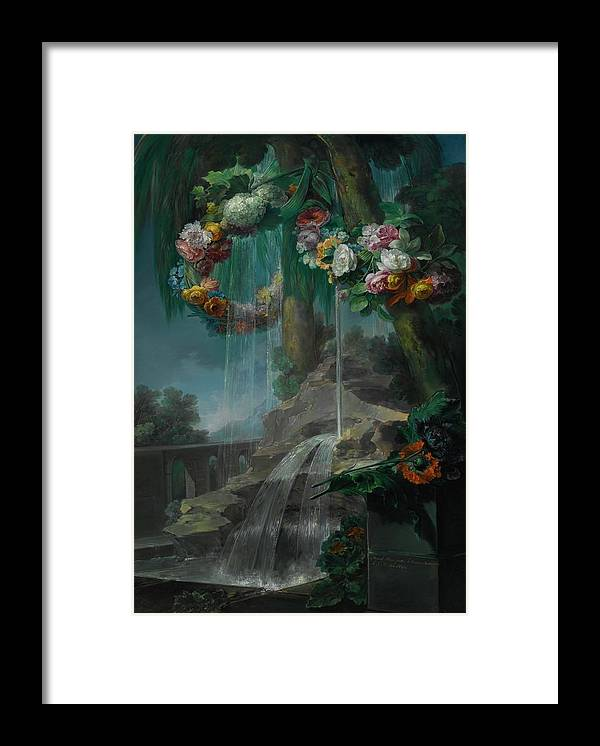 Miguel Parra Abril  1784-1846  An Outdoor Scene With A Spring Flowing Into A Pool Framed Print featuring the painting An Outdoor Scene With A Spring Flowing Into A Pool by MotionAge Designs