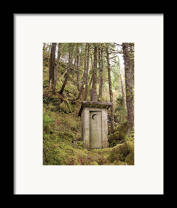 Outdoors Framed Print featuring the photograph An Outhouse In A Moss Covered Forest by Michael Melford