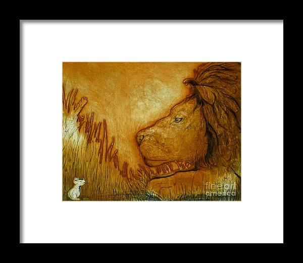 Animals Framed Print featuring the drawing An Understanding by Susan Clausen