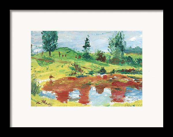 Landscape Framed Print featuring the painting An Upland Meadow by Horacio Prada