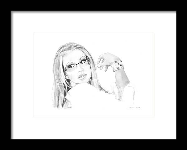 Anastacia Framed Print featuring the drawing Anastacia by Gabor Vida