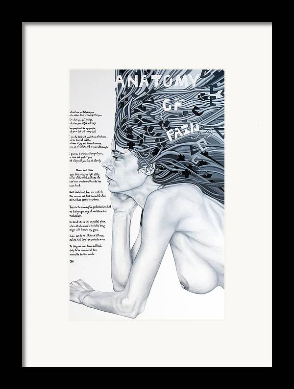 Poetry Framed Print featuring the painting Anatomy Of Pain by Judy Henninger