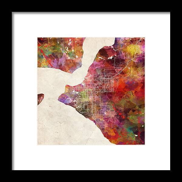 Anchorage Framed Print featuring the painting Anchorage Map Alaska by Map Map Maps