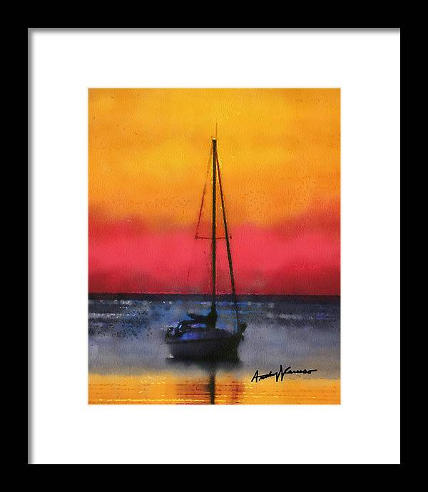 Sunset Framed Print featuring the painting Anchored by Anthony Caruso