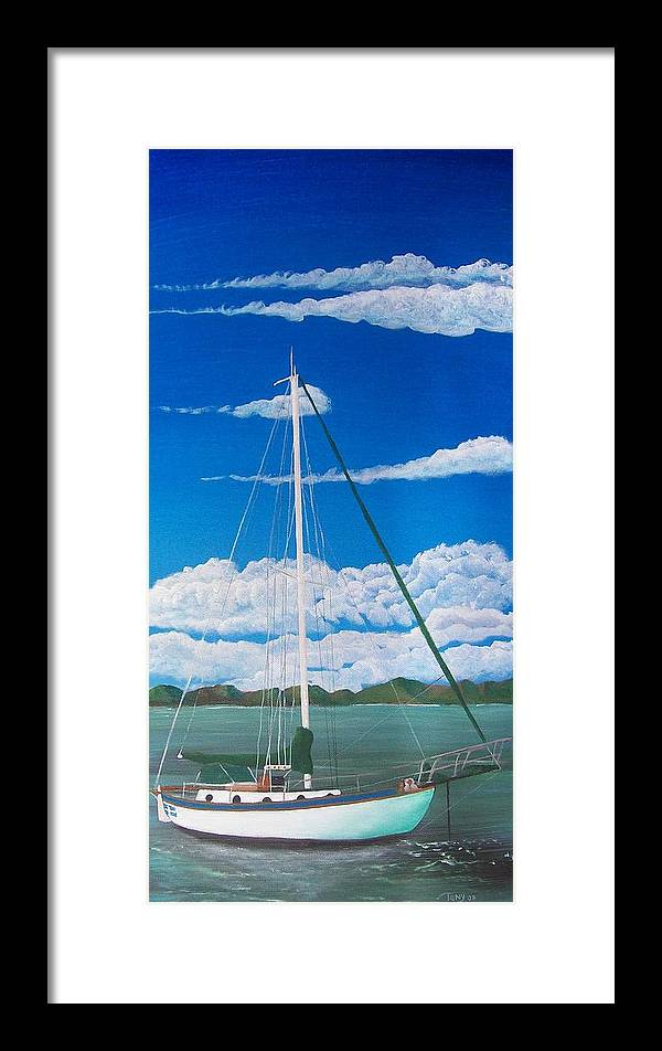 Anchored Framed Print featuring the painting Anchored by Tony Rodriguez