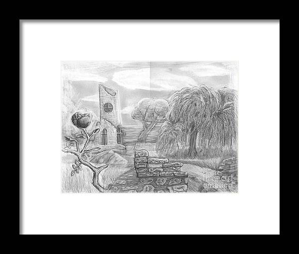 Landscape Framed Print featuring the drawing Ancient Church by Katie Alfonsi