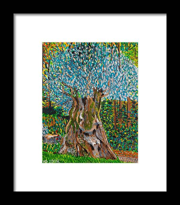 Olive Framed Print featuring the painting Ancient Olive Tree by Valerie Ornstein