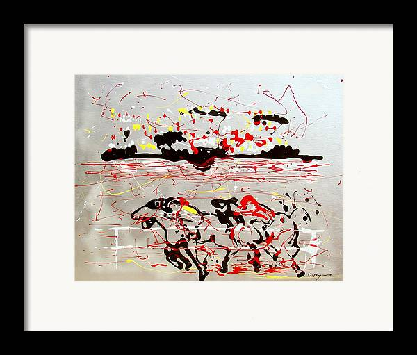 Abstract Framed Print featuring the mixed media And Down The Stretch They Come by J R Seymour