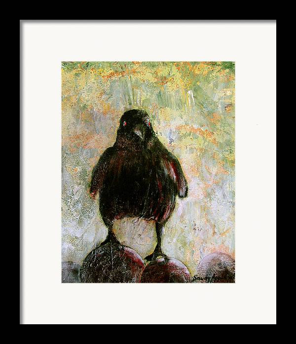 Raven Framed Print featuring the painting And His Eyes by Sandy Applegate
