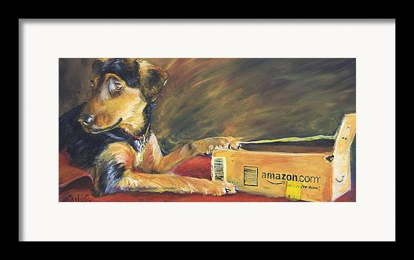Dog Framed Print featuring the painting And Youre Done by Nik Helbig