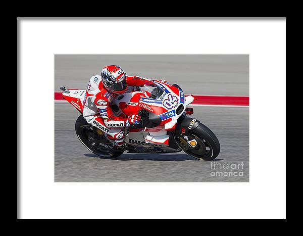 Moto Gp Framed Print featuring the photograph Andrea Dovizioso by Ara Ashjian