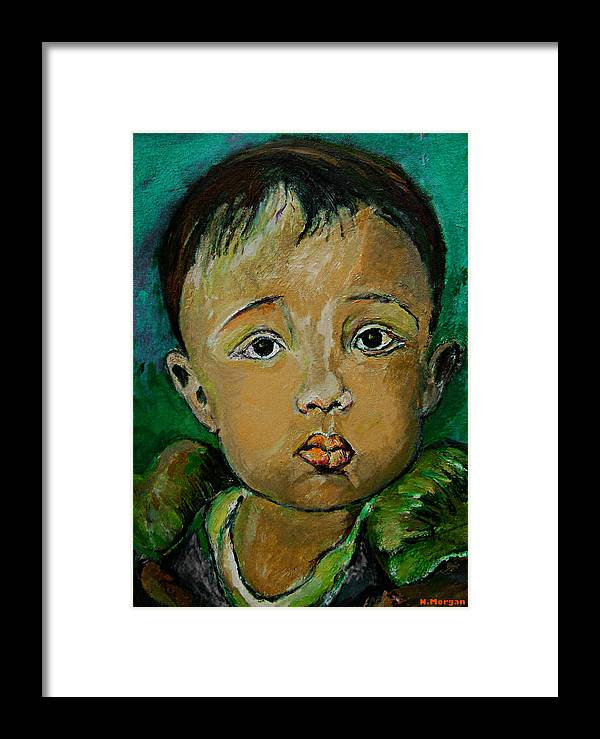 Portrait Framed Print featuring the painting Andrew by Noredin Morgan