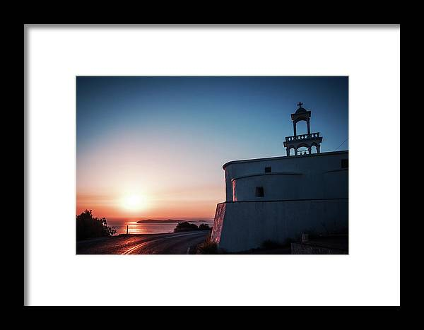 Andros Framed Print featuring the photograph Andros Island Sunset - Greece by Alexander Voss