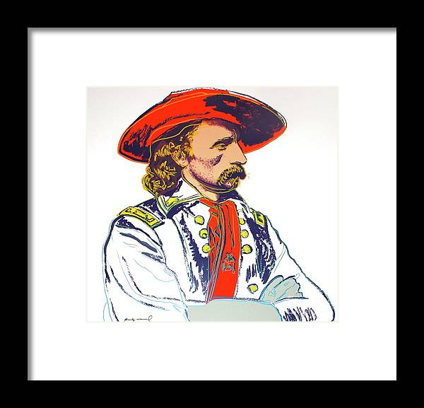 Andy Warhol Framed Print featuring the mixed media Andy Warhol, General Custer, Cowboys And Indians Series by Thomas Pollart