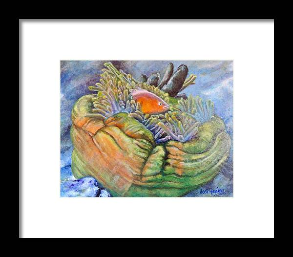 Coral Framed Print featuring the painting Anemone Coral And Fish by Jodi Higgins