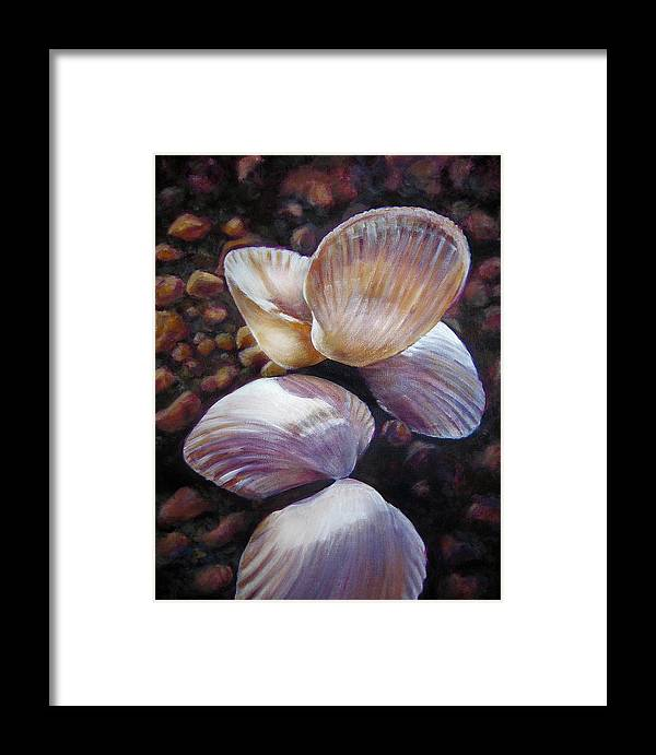Painting Framed Print featuring the painting Ane's Shells by Fiona Jack