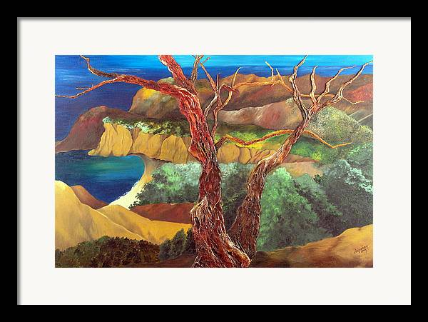 Landscape- Seascape Framed Print featuring the painting Anew by Helene Lagoudakis