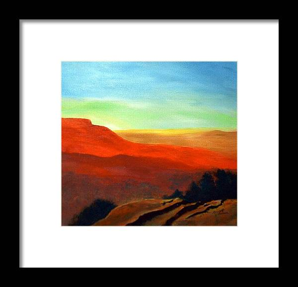 Landscape Framed Print featuring the painting Anew by Julie Lamons