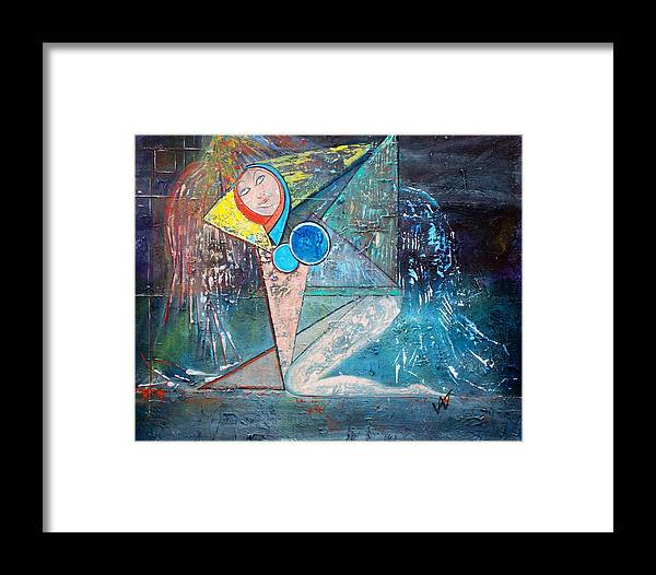 Abstract Framed Print featuring the painting Angel - Study 2 by Valerie Wolf