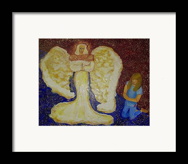 Angel Framed Print featuring the painting Angel And Child by Helen Musser