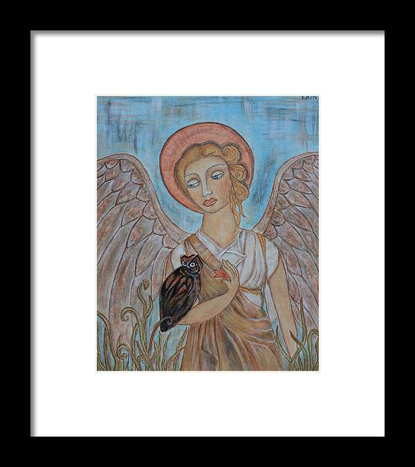 Paintings Framed Print featuring the painting Angel And Owl by Rain Ririn