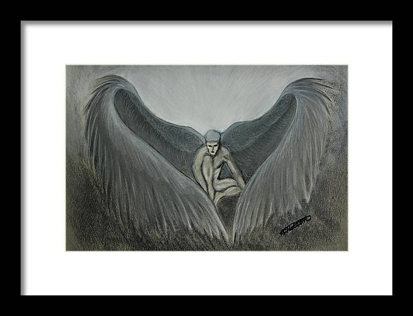 Angel Framed Print featuring the painting Angel At Twilight - Charcoal - 8 X 12 by B Nelson