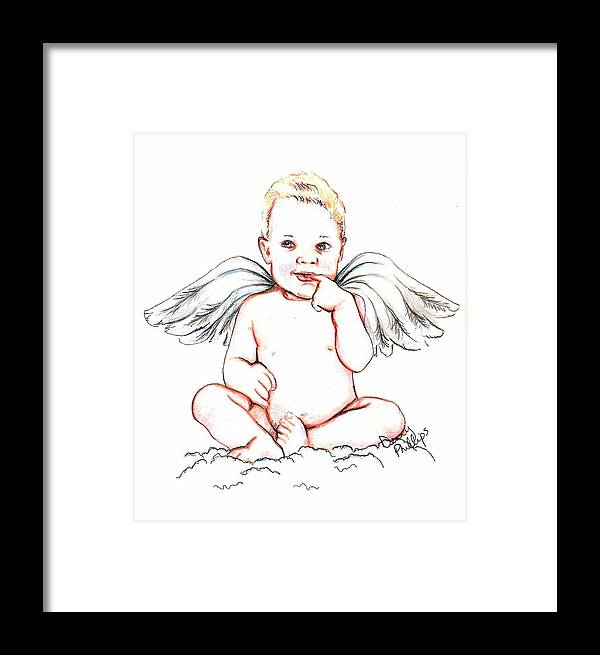 Angel Framed Print featuring the mixed media Angel Baby by Denny Phillips