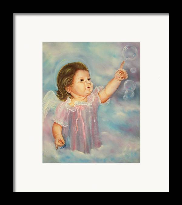 Angel Framed Print featuring the painting Angel Baby by Joni McPherson