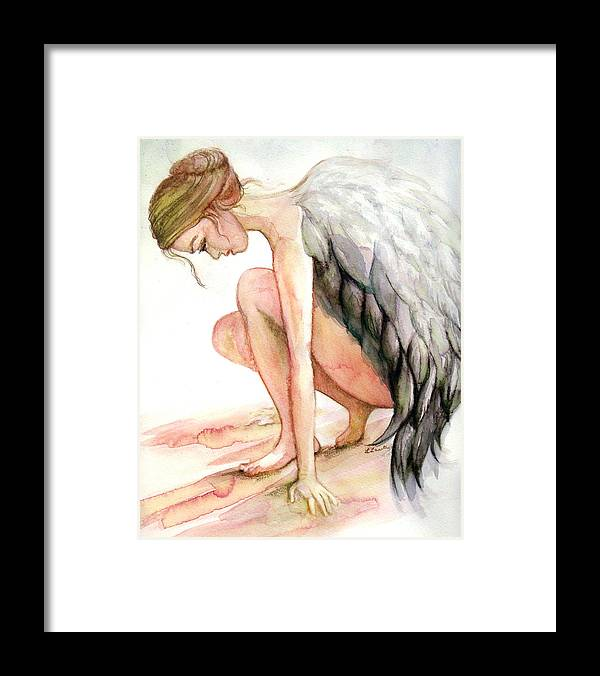 Angel Framed Print featuring the drawing Angel Bowed by L Lauter