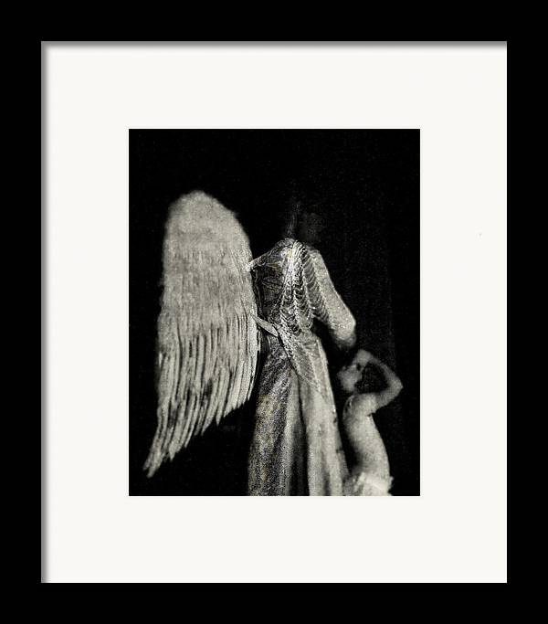 Digital Photography Framed Print featuring the photograph Angel Bw by Tony Wood