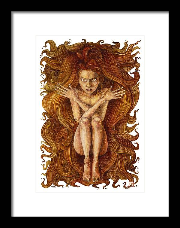 Watercolor Framed Print featuring the painting Angel by Connor Maguire