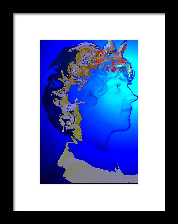 Angel Framed Print featuring the digital art Angel Dreams Of Earth by Helene Champaloux-Saraswati