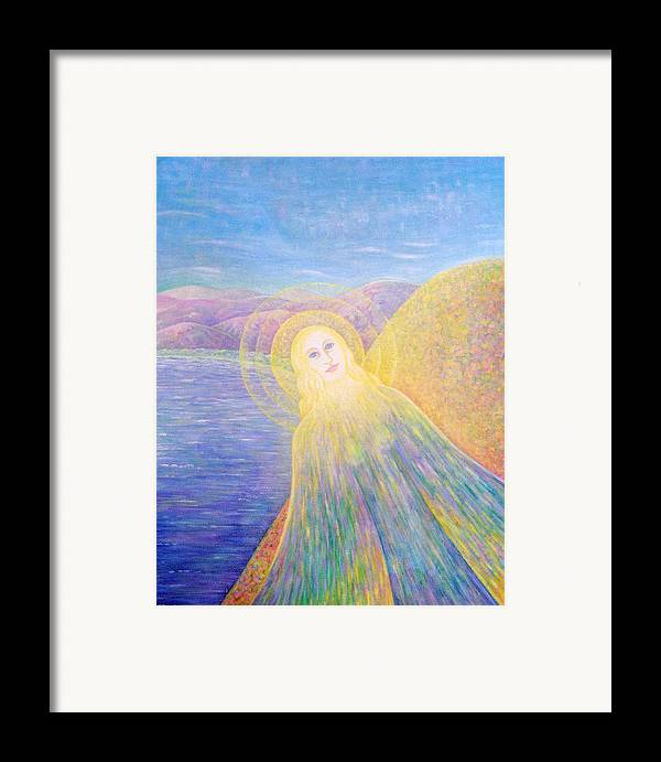 Symbolic Framed Print featuring the painting Angel by Hiske Tas Bain