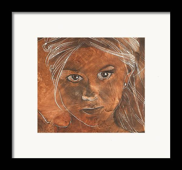 Nude Framed Print featuring the painting Angel In Process Head Detail by Richard Hoedl