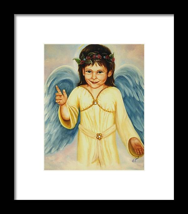 Portrait Framed Print featuring the painting Angel In Yellow by Joni McPherson