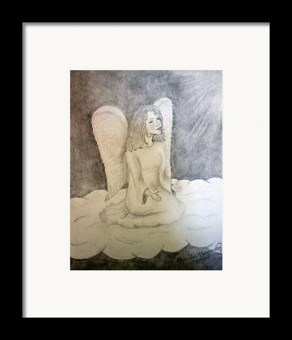 Angel Framed Print featuring the drawing Angel by Jennifer Hernandez