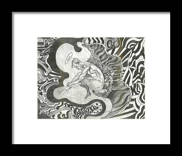 Framed Print featuring the drawing Angel by Joseph Arico