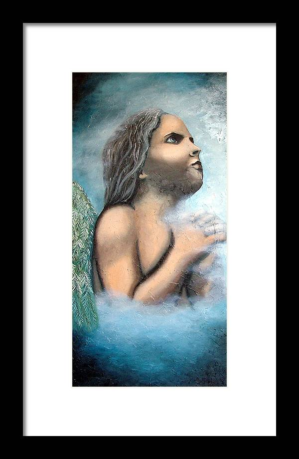 Angel Framed Print featuring the painting Angel Of Faith by Elizabeth Lisy Figueroa