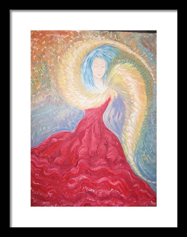 Angel Framed Print featuring the painting Angel Of Fire by Helene Champaloux-Saraswati