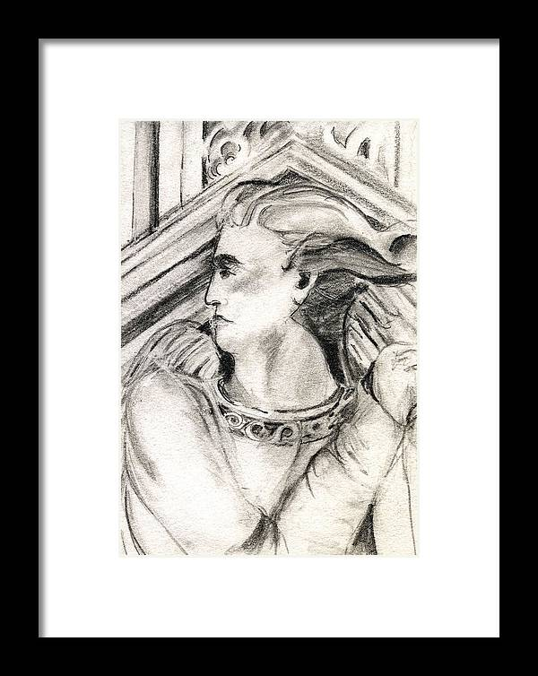 Drawing Framed Print featuring the drawing Angel Of Orieveto Italy by Mindy Newman