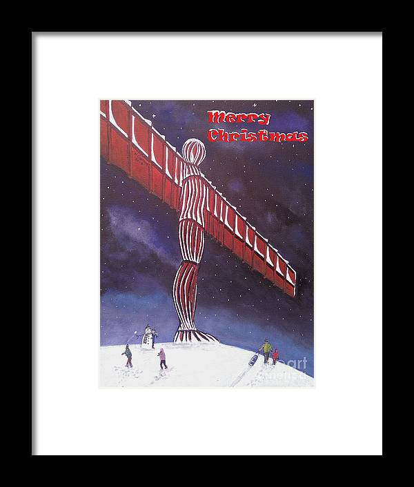 Angel Of The North Christmas Card Framed Print featuring the painting Angel Of The North Christmas by Neal Crossan