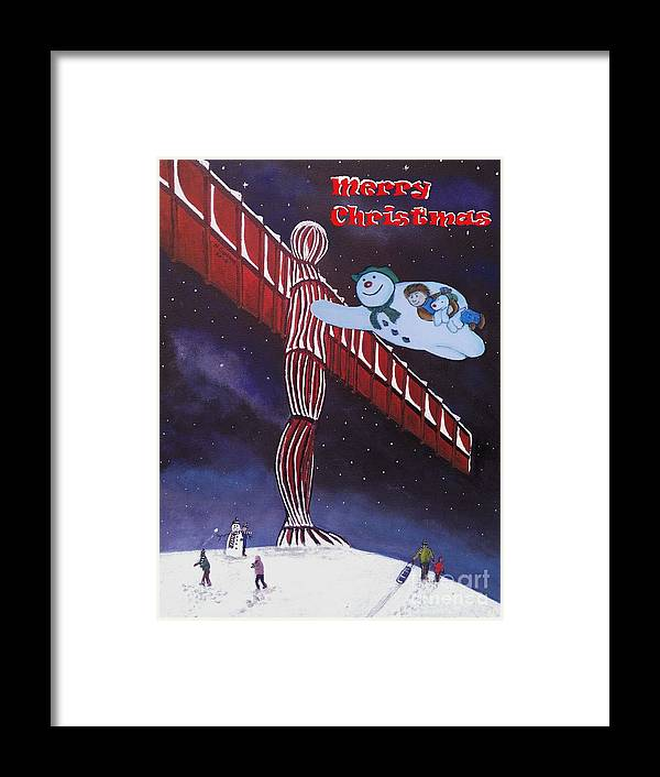 Framed Print featuring the painting Angel Of The North, Snowman by Neal Crossan