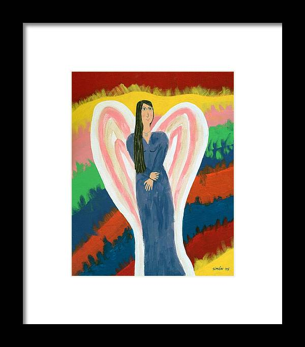 Angel Framed Print featuring the painting Angel On Fire by Lourdes SIMON