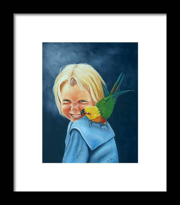 Portrait Framed Print featuring the painting Angel On My Shoulder by Joni McPherson