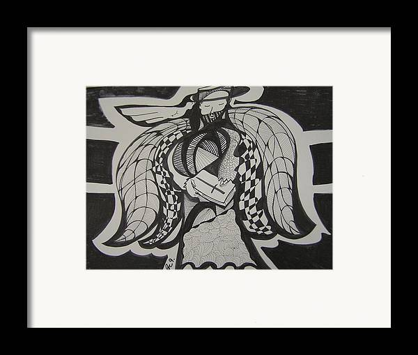 Angel Framed Print featuring the drawing Angel Receiving Prayer by Jimmy King